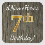[ Thumbnail: Faux Wood, Faux Gold 7th Birthday + Custom Name Sticker ]