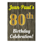 [ Thumbnail: Faux Wood, Faux Gold 80th Birthday Celebration Invitation ]