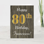 [ Thumbnail: Faux Wood, Faux Gold 80th Birthday + Custom Name Card ]