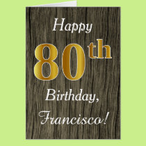 Faux Wood, Faux Gold 80th Birthday   Custom Name Card