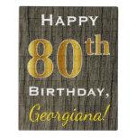 [ Thumbnail: Faux Wood, Faux Gold 80th Birthday + Custom Name Jigsaw Puzzle ]