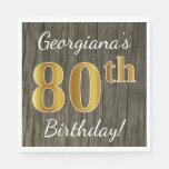 [ Thumbnail: Faux Wood, Faux Gold 80th Birthday + Custom Name Paper Napkin ]