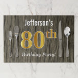 [ Thumbnail: Faux Wood, Faux Gold 80th Birthday + Custom Name Paper Placemat ]