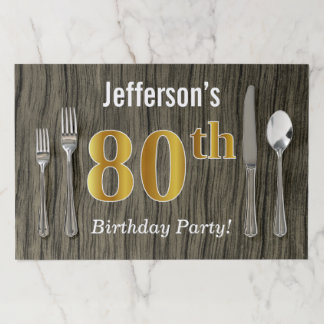 Faux Wood, Faux Gold 80th Birthday + Custom Name Paper Placemat