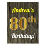 [ Thumbnail: Faux Wood, Faux Gold 80th Birthday & Custom Name Postcard ]