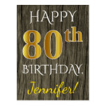 [ Thumbnail: Faux Wood, Faux Gold 80th Birthday + Custom Name Postcard ]