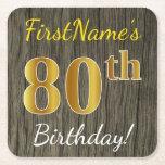 [ Thumbnail: Faux Wood, Faux Gold 80th Birthday + Custom Name Paper Coaster ]