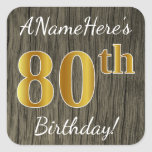 [ Thumbnail: Faux Wood, Faux Gold 80th Birthday + Custom Name Sticker ]