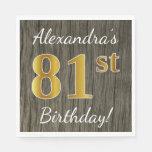[ Thumbnail: Faux Wood, Faux Gold 81st Birthday + Custom Name Paper Napkin ]