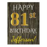 [ Thumbnail: Faux Wood, Faux Gold 81st Birthday + Custom Name Postcard ]