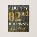 [ Thumbnail: Faux Wood, Faux Gold 82nd Birthday + Custom Name Jigsaw Puzzle ]