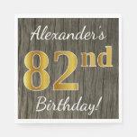 [ Thumbnail: Faux Wood, Faux Gold 82nd Birthday + Custom Name Paper Napkin ]