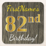[ Thumbnail: Faux Wood, Faux Gold 82nd Birthday + Custom Name Paper Coaster ]