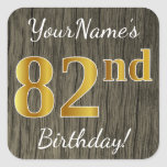 [ Thumbnail: Faux Wood, Faux Gold 82nd Birthday + Custom Name Sticker ]