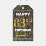 [ Thumbnail: Faux Wood, Faux Gold 83rd Birthday + Custom Name Gift Tags ]