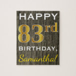 [ Thumbnail: Faux Wood, Faux Gold 83rd Birthday + Custom Name Jigsaw Puzzle ]