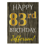 [ Thumbnail: Faux Wood, Faux Gold 83rd Birthday + Custom Name Postcard ]