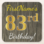 [ Thumbnail: Faux Wood, Faux Gold 83rd Birthday + Custom Name Paper Coaster ]