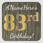 [ Thumbnail: Faux Wood, Faux Gold 83rd Birthday + Custom Name Sticker ]