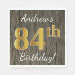 [ Thumbnail: Faux Wood, Faux Gold 84th Birthday + Custom Name Paper Napkin ]