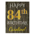 [ Thumbnail: Faux Wood, Faux Gold 84th Birthday + Custom Name Postcard ]