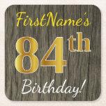 [ Thumbnail: Faux Wood, Faux Gold 84th Birthday + Custom Name Paper Coaster ]