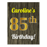 [ Thumbnail: Faux Wood, Faux Gold 85th Birthday & Custom Name Postcard ]