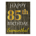[ Thumbnail: Faux Wood, Faux Gold 85th Birthday + Custom Name Postcard ]