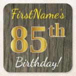 [ Thumbnail: Faux Wood, Faux Gold 85th Birthday + Custom Name Paper Coaster ]