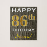 [ Thumbnail: Faux Wood, Faux Gold 86th Birthday + Custom Name Jigsaw Puzzle ]