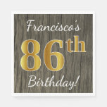 [ Thumbnail: Faux Wood, Faux Gold 86th Birthday + Custom Name Paper Napkin ]