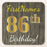 [ Thumbnail: Faux Wood, Faux Gold 86th Birthday + Custom Name Paper Coaster ]
