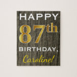 [ Thumbnail: Faux Wood, Faux Gold 87th Birthday + Custom Name Jigsaw Puzzle ]