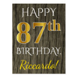 [ Thumbnail: Faux Wood, Faux Gold 87th Birthday + Custom Name Postcard ]