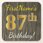 [ Thumbnail: Faux Wood, Faux Gold 87th Birthday + Custom Name Paper Coaster ]