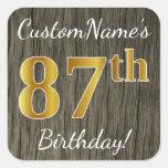 [ Thumbnail: Faux Wood, Faux Gold 87th Birthday + Custom Name Sticker ]