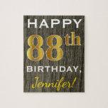 [ Thumbnail: Faux Wood, Faux Gold 88th Birthday + Custom Name Jigsaw Puzzle ]