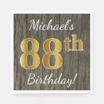 [ Thumbnail: Faux Wood, Faux Gold 88th Birthday + Custom Name Paper Napkin ]