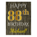 [ Thumbnail: Faux Wood, Faux Gold 88th Birthday + Custom Name Postcard ]