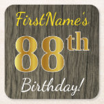 [ Thumbnail: Faux Wood, Faux Gold 88th Birthday + Custom Name Paper Coaster ]