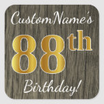 [ Thumbnail: Faux Wood, Faux Gold 88th Birthday + Custom Name Sticker ]