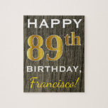 [ Thumbnail: Faux Wood, Faux Gold 89th Birthday + Custom Name Jigsaw Puzzle ]