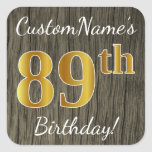 [ Thumbnail: Faux Wood, Faux Gold 89th Birthday + Custom Name Sticker ]