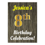 [ Thumbnail: Faux Wood, Faux Gold 8th Birthday Celebration Invitation ]