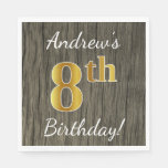 [ Thumbnail: Faux Wood, Faux Gold 8th Birthday + Custom Name Paper Napkin ]