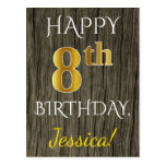 [ Thumbnail: Faux Wood, Faux Gold 8th Birthday + Custom Name Postcard ]