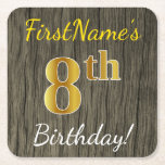 [ Thumbnail: Faux Wood, Faux Gold 8th Birthday + Custom Name Paper Coaster ]