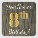 [ Thumbnail: Faux Wood, Faux Gold 8th Birthday + Custom Name Sticker ]