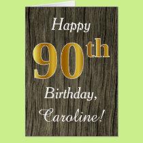 Faux Wood, Faux Gold 90th Birthday   Custom Name Card