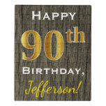 [ Thumbnail: Faux Wood, Faux Gold 90th Birthday + Custom Name Jigsaw Puzzle ]